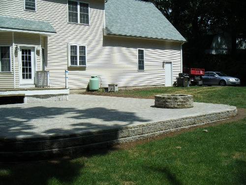 Allan Block Wall, Cambridge Pavers and Fire Pit